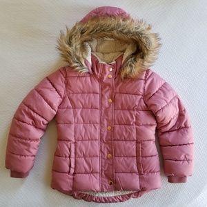 Old Navy Girls Pink Faux Fur Hood Puffer Coat 6-7
